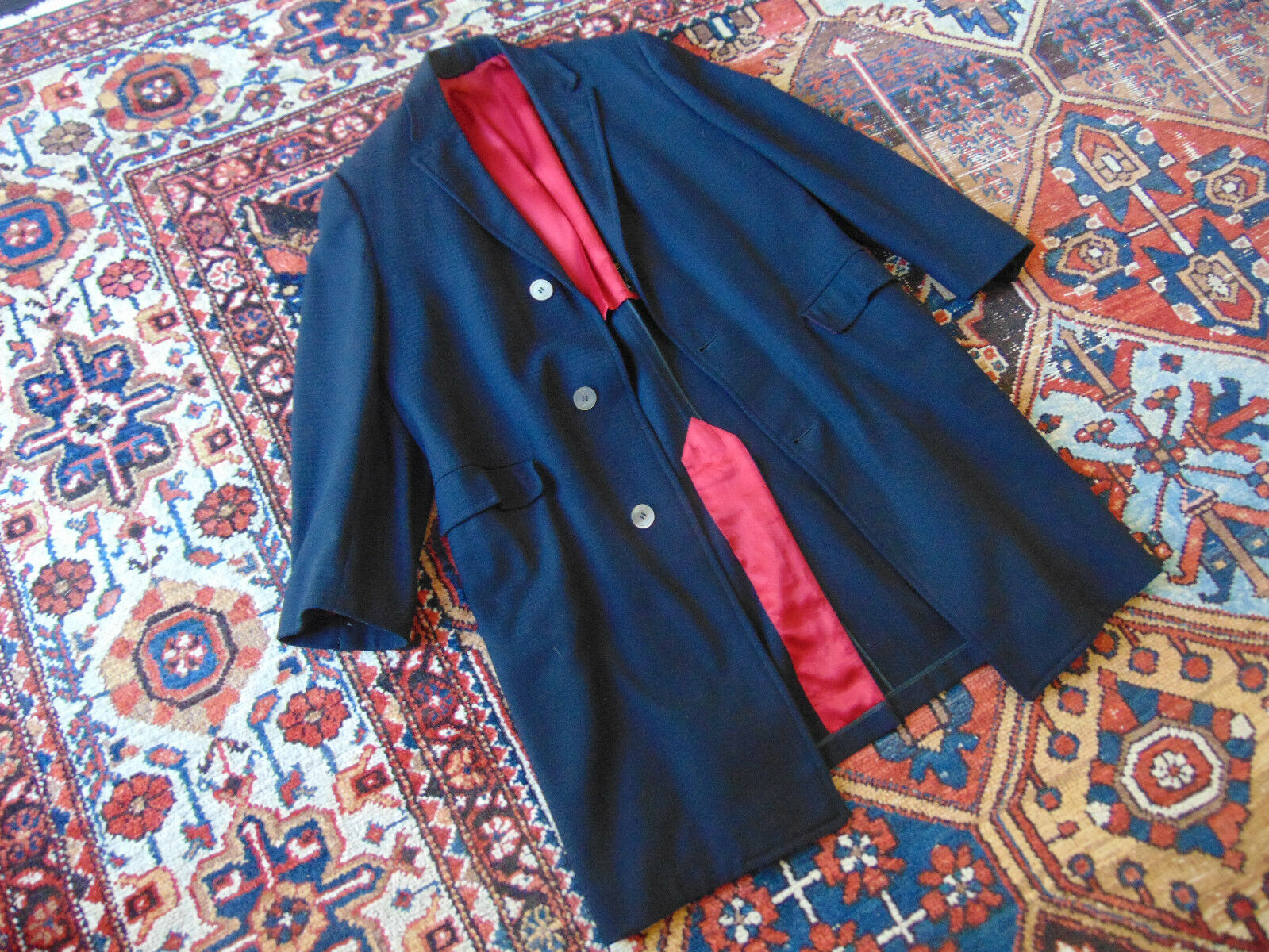 VTG (Dated 1961) Topcoat. Crimson-Lined. Taped Seams. MOP Buttons. US 38R-40R