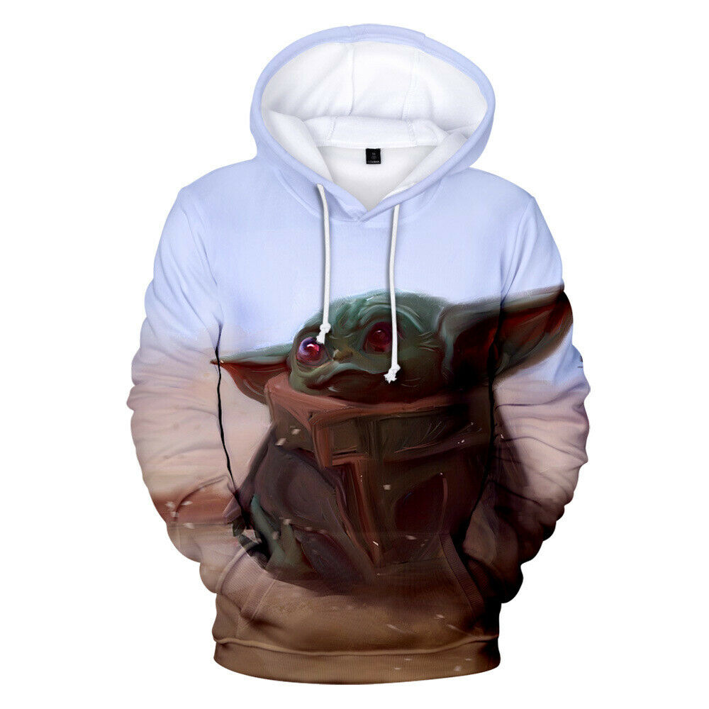 BLAZANA Unisex 3D Printed Cute Baby Yoda Long Sleeve Hoodie Pullover Sweater for Men Women Boys Girls