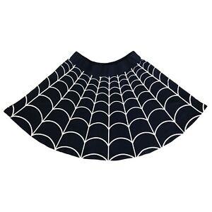 Kreepsville 666 80s Gothic Horror Black Spider Web Spiderweb Skater Skirt Size S