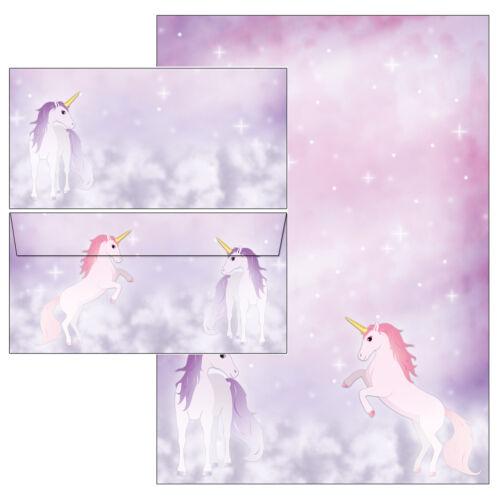 magisches Einhorn Set Motivpapier Briefpapier 20 Blatt A4 10 Kuverts Pferd Pony