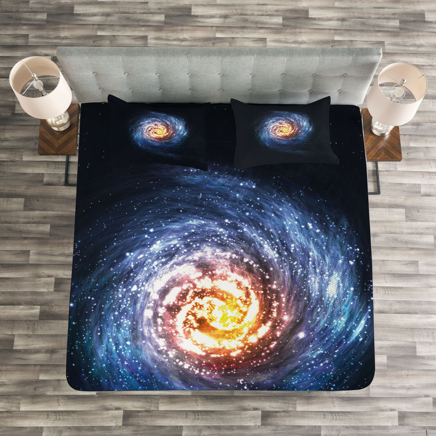 Galaxy Quilted Bedspread & Pillow Shams Set, Mysterious Space Road Print