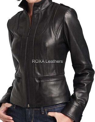 URBAN Women/'s 100/% Lambskin Leather Jacket Motorcycle Biker Slim Fit Zip Up Coat