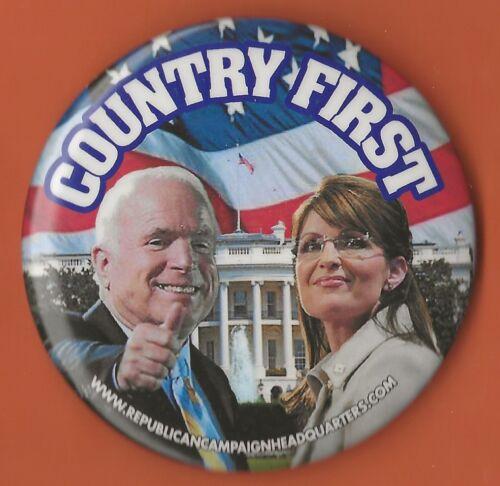 "2008 John McCain /& Sarah Palin 3/"" xmas /""Country First/"" Campaign Button"