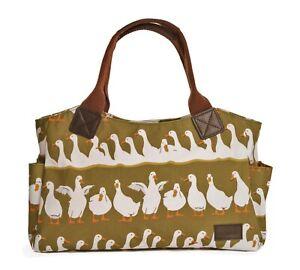 Green-Tote-Handbag-Bag-Canvas-Handles-Ducks-Gifts-White-Duck-Gift-Outer-Pockets