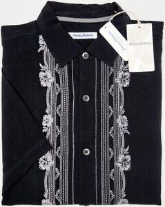 NWT-145-Tommy-Bahama-Black-SS-Shirt-Cambio-Tiles-Silk-Mens-Size-L-XXL-NEW