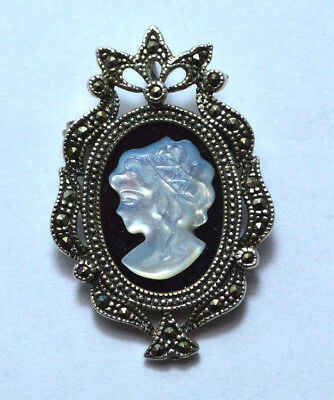 VINTAGE Cameo sterling silver pendant and lapel pin
