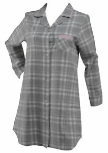 Image is loading Grey-Tartan-Check-Ladies-Nightie-100-Cotton-Button- 6bfb44c0d