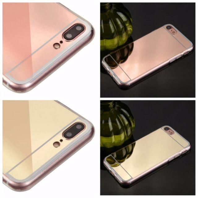 For iPhone 7 / 7 Plus Slim Gummy Hybrid Hard Shockproof Mirror Phone Case