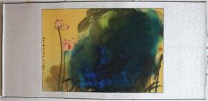 RARE-Chinese-Painting-amp-Scroll-Lotus-By-Zhang-Daqian-A