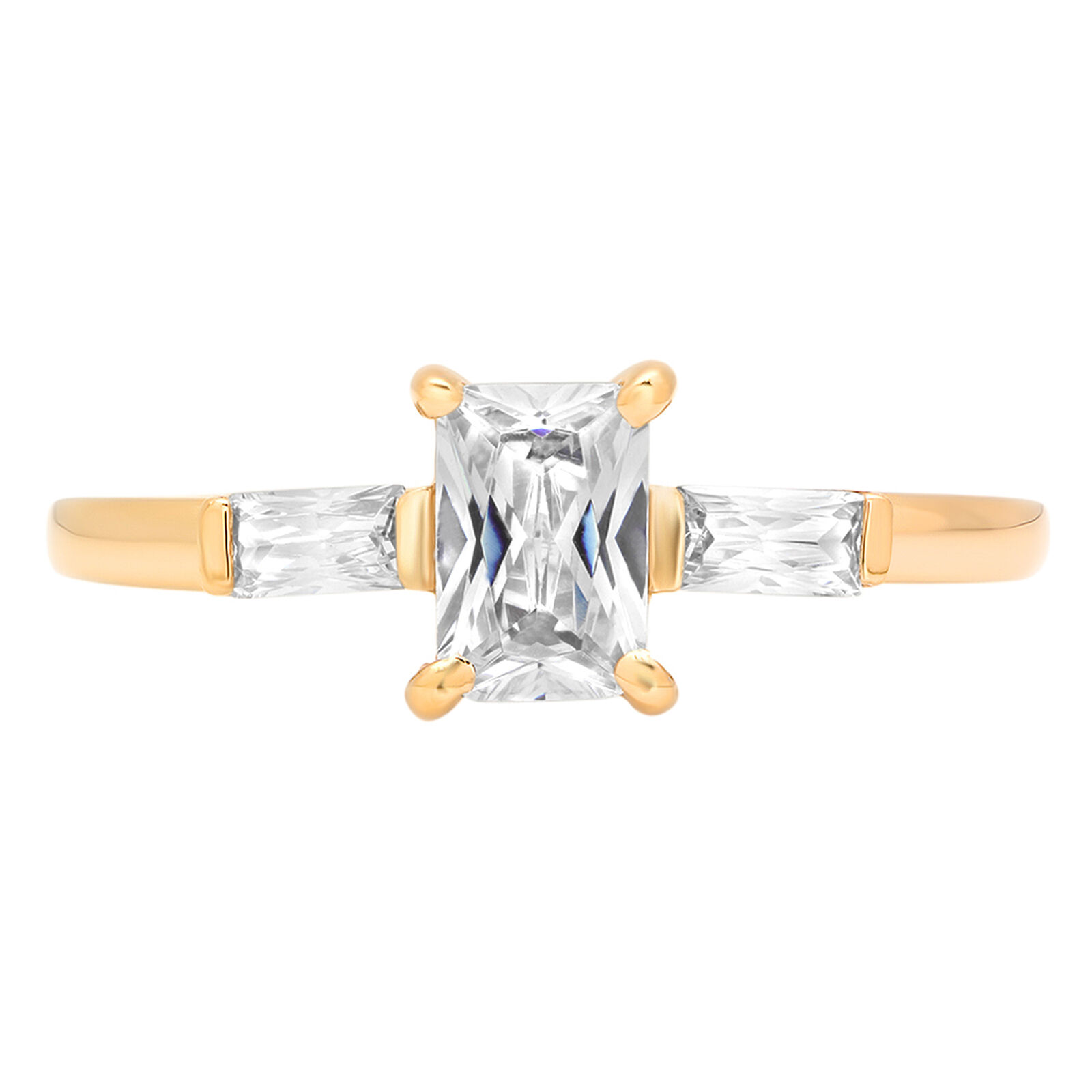 1.25ct 3Stone Emerald Baguette Cut Solitaire Wedding Bridal Ring 14k Yellow gold
