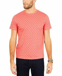 Nautica-Mens-T-Shirt-Coral-Pink-Size-2XL-Anchor-Print-Graphic-Crewneck-100