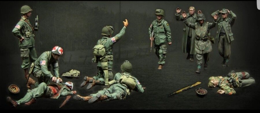 1 35 U.S. Army and German soldiers Historical WWII Figure Resin Kit Unpainted