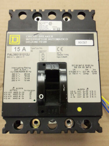 SQUARE D FAL FAL360151212J FAL36015-1212J 15 AMP AUX Switch 3 POLE BREAKER