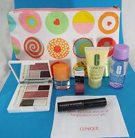Clinique 7 Piece Compact, Sugar Plum Lip, Mascara, Lotion Bag Remover Happy