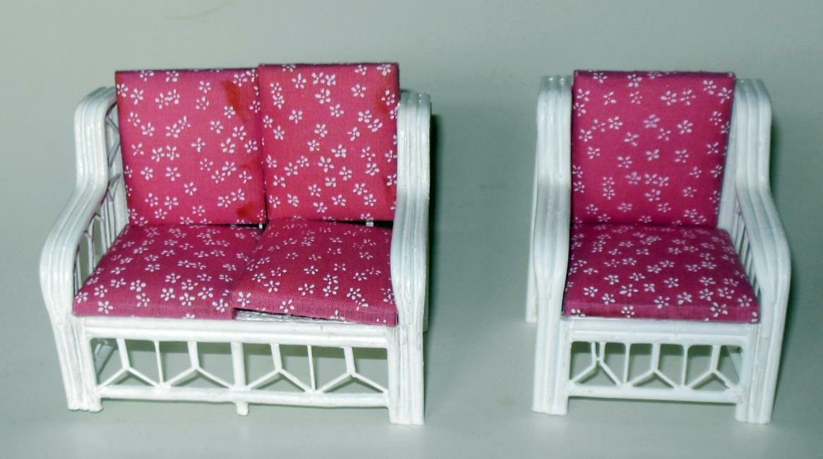 RATTAN LIVING ROOM VINTAGE 1193A DOLLHOUSE FURNITURE MINIATURES