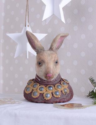 Kaninchen Büste Alice Im Wunderland Deckeldose Schmuckschatulle Vintage Hase