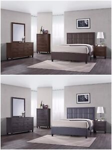 5Pc Wood Bedroom Set, Queen Size Bed + Night Stand + Mirror + ...