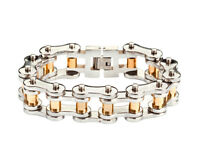 Men's Stainless Steel Thick Silver Gold Rollers Bike Chain Bracelet Usa Seller