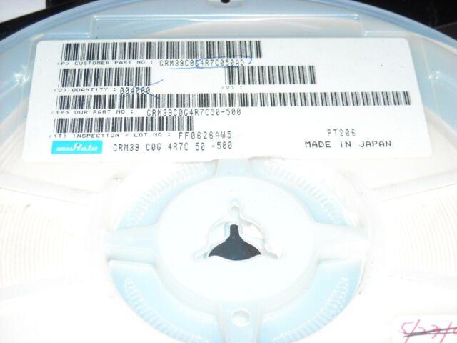 CERAMIC 4.7pf 50V .0603 10/% C0G 500 PCS MuRata GRM39C0G4R7C050AD CAPACITOR