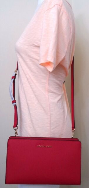 cd2aa0f64661 Michael Michael Kors Jet Set Ultra Pink Leather Large Crossbody Clutch