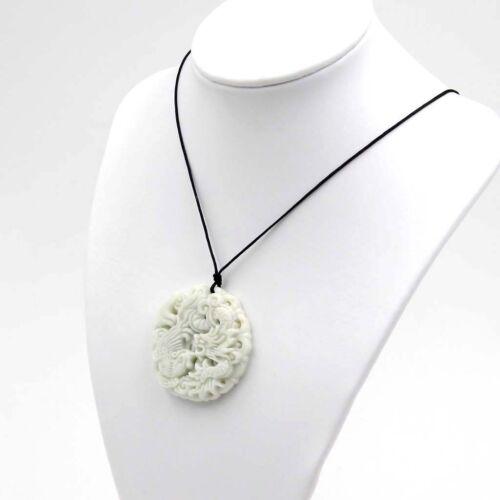 White Jade Happy Lucky Dragon Phoenix Amulet Pendant