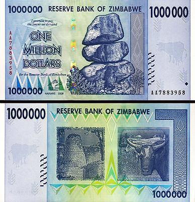 Zimbabwe 1 Million 2008 P-77 Unc Dollars 1,000,000