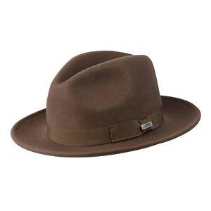 New Conner Hats Men's Wyatt Australian crushable wool Fedora Hat, Brown, L