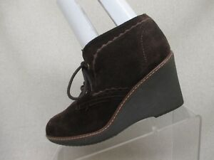 Naturalizer-N5-Comfort-Brown-Suede-Wedge-Heel-Platform-Ankle-Boots-Size-8-M