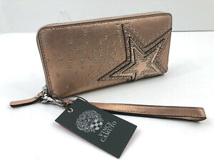 Vince Camuto Taz Wallet Wristlet STAR Studs Rose Gold Metallic Leather NWT $118