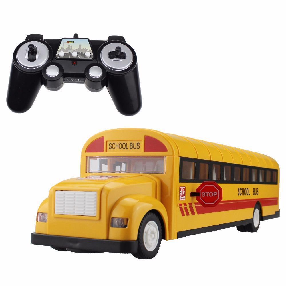 School Bus Remote Transporter Vehicle Kids Hobby Toys With Sound And Light Model