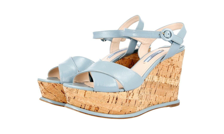 Luxury PRADA Saffiano Sandals  Platform Wedge scarpe 1XZ265 blu NEW 38,5 39  negozio d'offerta