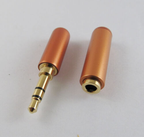 "Female Socket Audio TRS Connector 1x Orange 3.5mm 1//8/"" Male 3 Pole Stereo Plug"
