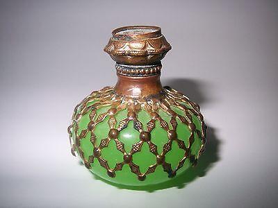 1850 French Antique Jade Opaline Grand Tour Eglomise Apple Green Perfume Bottle