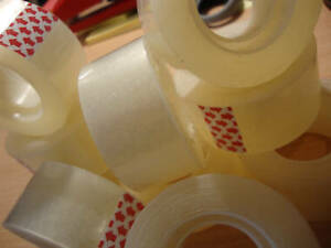 """12 x Easy Tear Clear Tape 1"""" Sellotape 25mm x 33M"""