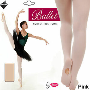 Silky-Ladies-Convertible-Foot-Ballet-Dance-Tights-Size-Small-Medium-Large-Pink
