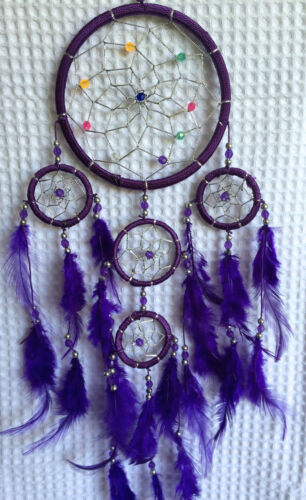 Vibrant Purple with bright coloured beads,comes in 3 great colours Dreamcatcher