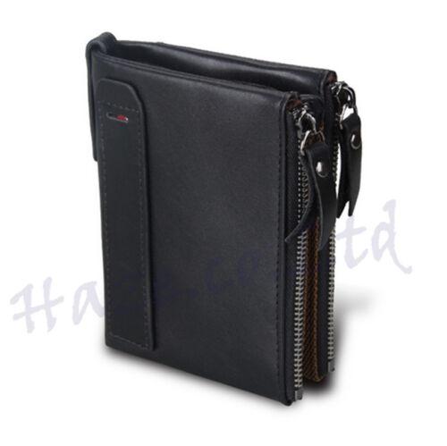 Men RFID Blocking Wallet Small Vintage Crazy Horse Leather Short Purse Bifold