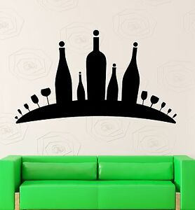 Wine Bottle Dining Room Kitchen Restaurant Wall Art Sticker Glass /& Grapes