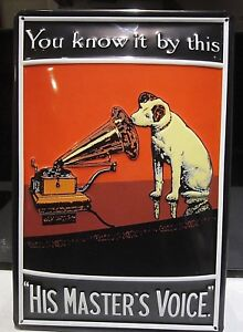 HMV-HIS-MASTERS-VOICE-EMBOSSED-3D-METAL-ADVERTISING-SIGN-30x20cm-FAMOUS-DOG