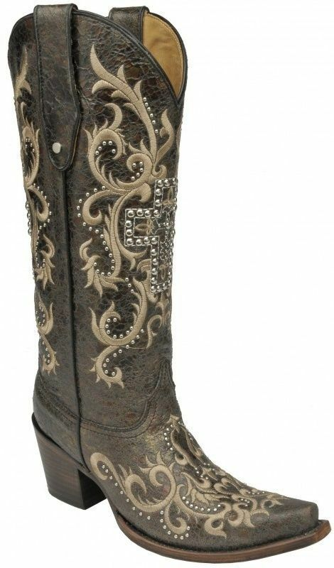 Corral Ladies Tall Top Cowboy Western Boots Black/Silver Studded Cross C2873