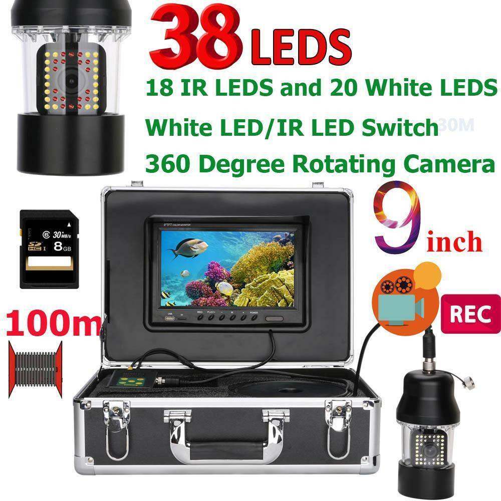 9 Inch DVR Recorder Fish Finder LEDs 20m/50m/100m 3.6mm Fish