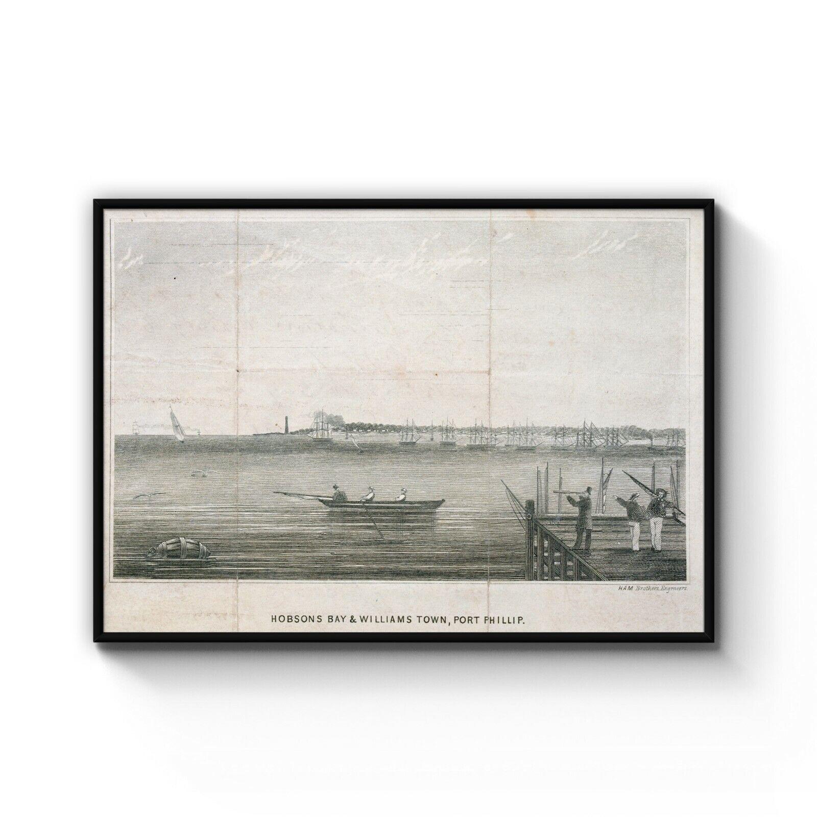 Melbourne Vintage Drawing Williamstown Port Phillip Bay Art Print Poster Framed