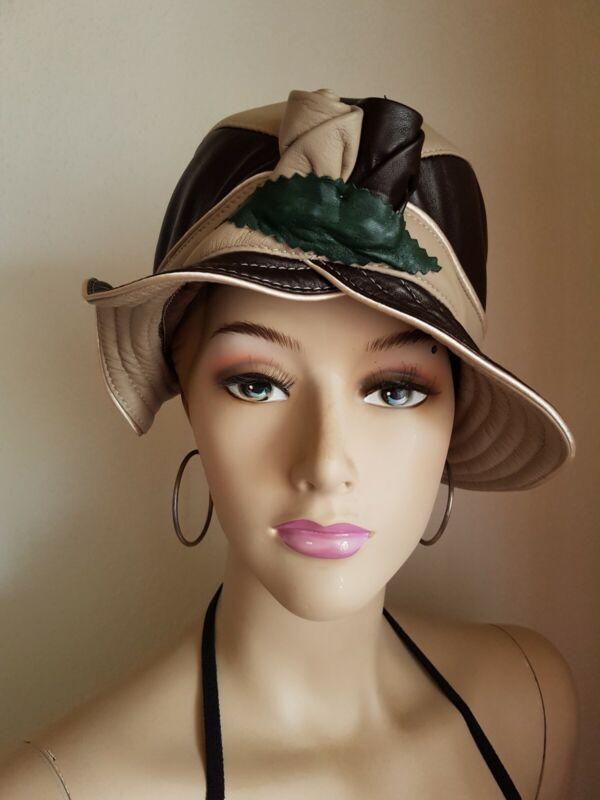 *~* Luka-pelli, Damen Hut/mütze Schwarz-beige 100%leder Elegant Lady *~*