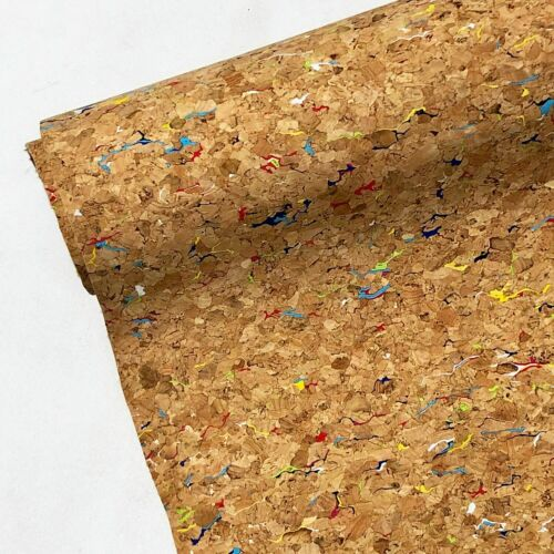 Liège naturel en cuir PU Tissu Largeur 140 cm-Rainbow Ou Argent Design