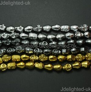 Natural-Hematite-Gemstone-Carved-Skull-Spacer-Beads-Metallic-Silver-Gold-15-5-034