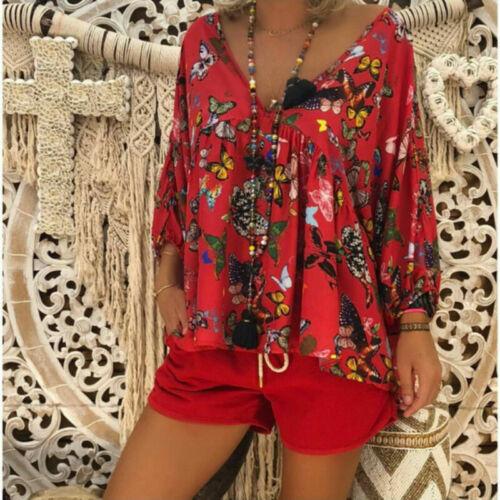 Damen Blumen V-Ausschnitt Langarmshirts Bluse Sommer Boho T-Shirt Oberteile Tops