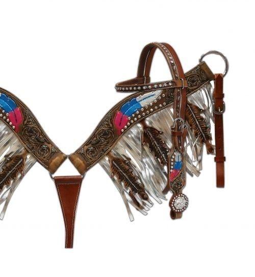 Showman Cuero Bridle & pecho collar conjunto C   Pintado Feather Herramientas & Flecos