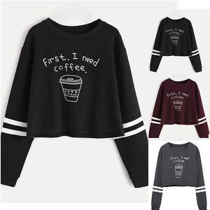 a427a20a50f6 Detalles de Manga Larga Mujer Suéter Pulóver Blusas Cortas Sudaderas  Sudadera Blusa Camisas