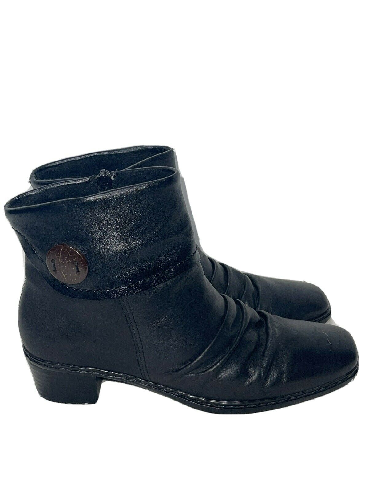 Rieker Women's Heeled Ankle Boots Black Leather Size 37 US 6.5/7