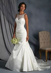 NWT-Size-16-White-silver-Alfred-Angelo-2542-fit-n-flair-bridal-gown-wedding-dres
